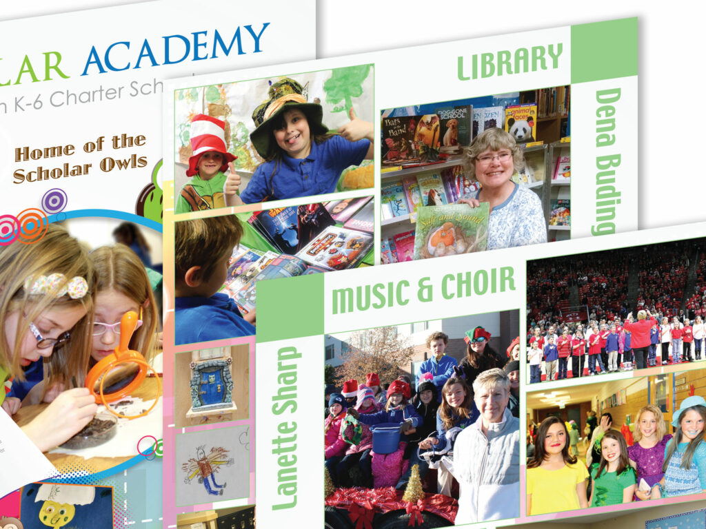 printed elementary school yearbook designed and produced by kelly parke