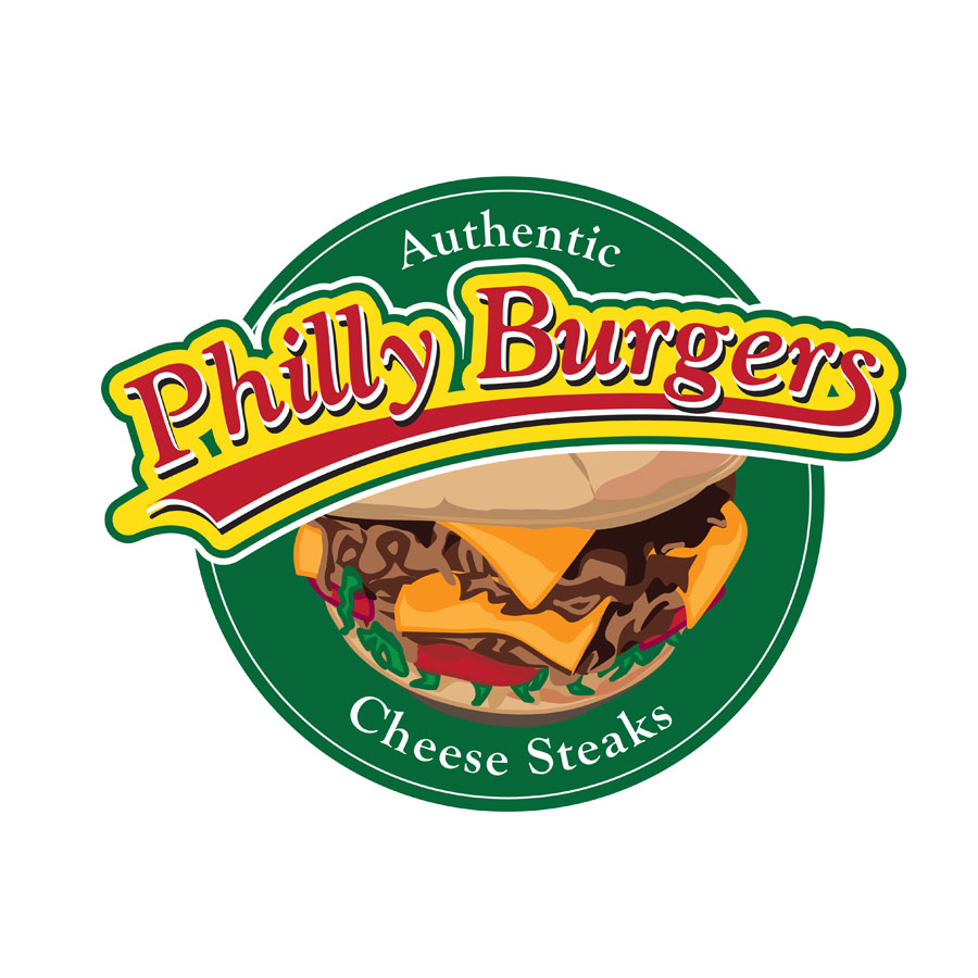 logo and burger illustration for philly burgers by kelly parke